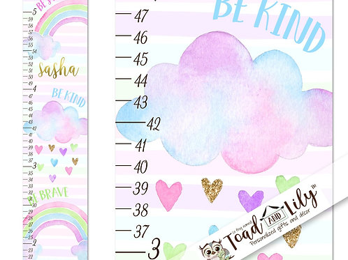 Rainbow Clouds and Hearts GROWTH CHART