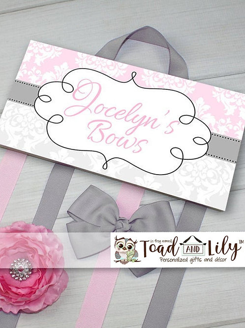 Pink and Gray Damask HAIR BOW HOLDER