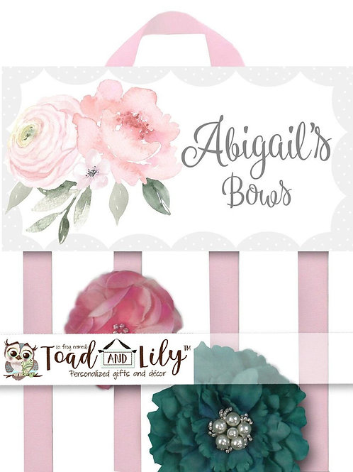Pink Floral Peony HAIR BOW HOLDER