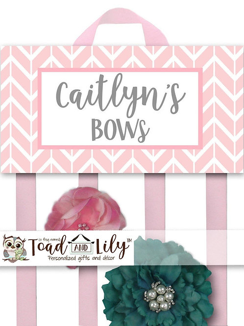 Pink Chevron HAIR BOW HOLDER