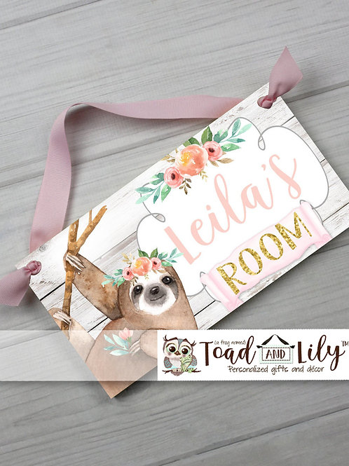 Soft Pink and Gold Floral Sloth DOOR SIGN