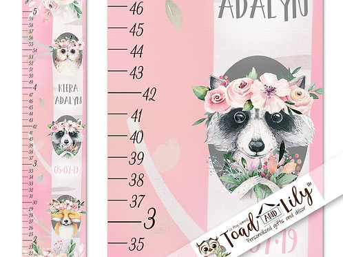 Pretty Pink Floral Woodland Animal GROWTH CHART