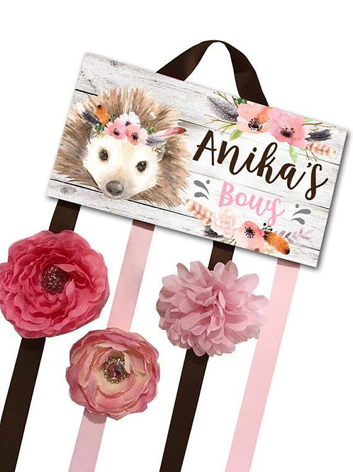 Floral Hedgehog HAIR BOW HOLDER