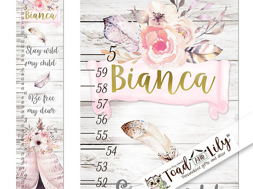 Boho Floral Teepee Feathers GROWTH CHART