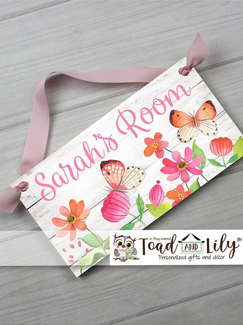 Pink and Orange Butterfly DOOR SIGN