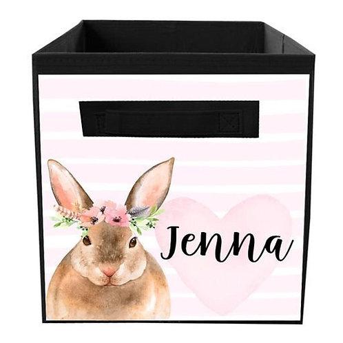 Floral Bunny FABRIC BIN