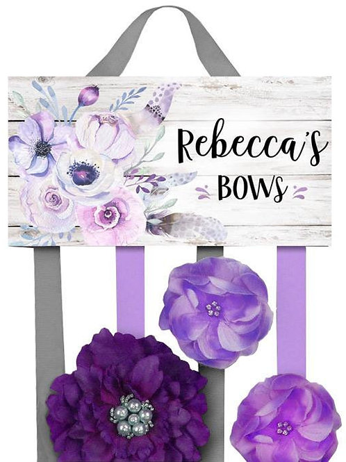 Lilac Floral Feather HAIR BOW HOLDER