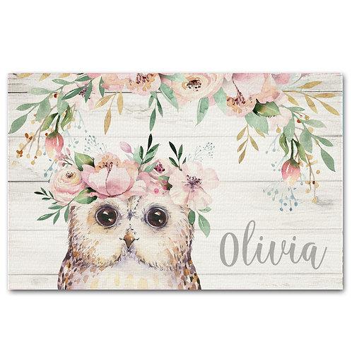 Floral Owls LINEN PLACEMAT