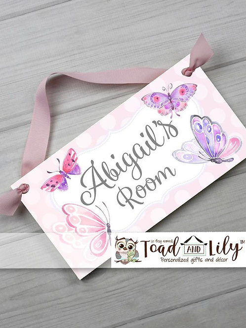 Pink and Lilac Butterfly DOOR SIGN