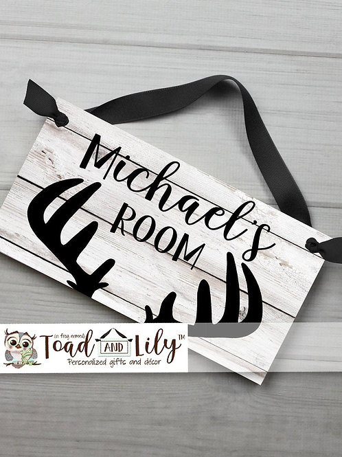 Deer Antler Silhouette DOOR SIGN