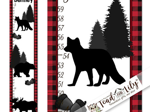Red Plaid Woodland Animal GROWTH CHART