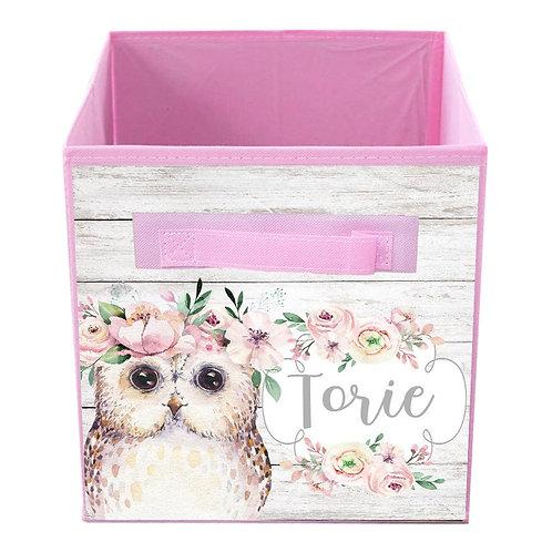 Floral Owl FABRIC BIN