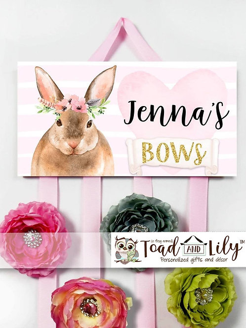 Floral Bunny HAIR BOW HOLDER
