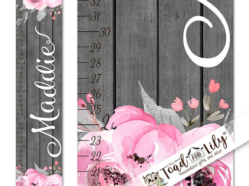 Grey and Pink Floral GROWTH CHART