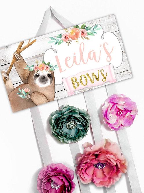 Floral Sloth HAIR BOW HOLDER