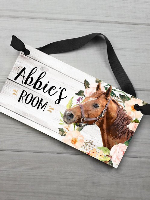 Floral Wreath Horse Pony Cowgirl DOOR SIGN