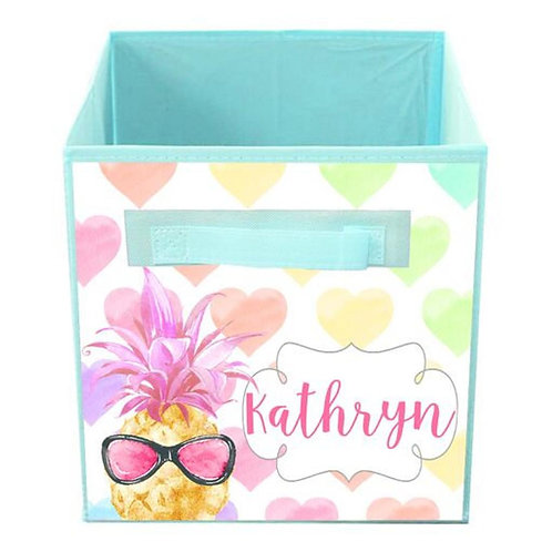 Rainbow Pineapple FABRIC BIN