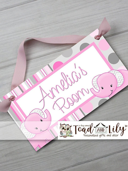 Pink and Grey Elephant DOOR SIGN