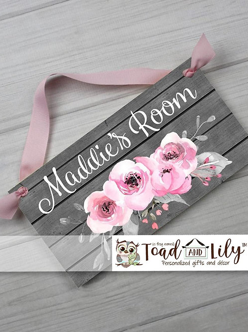 Grey Barn Board Pink Floral DOOR SIGN