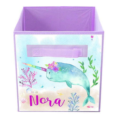 Floral Narwhal FABRIC BIN