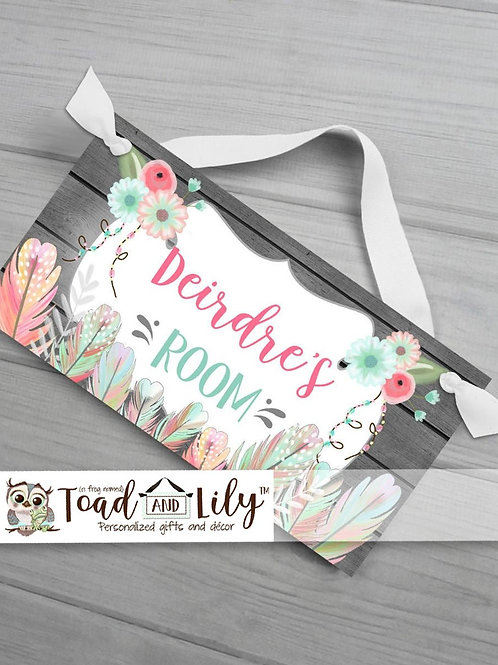 Floral Feathers DOOR SIGN