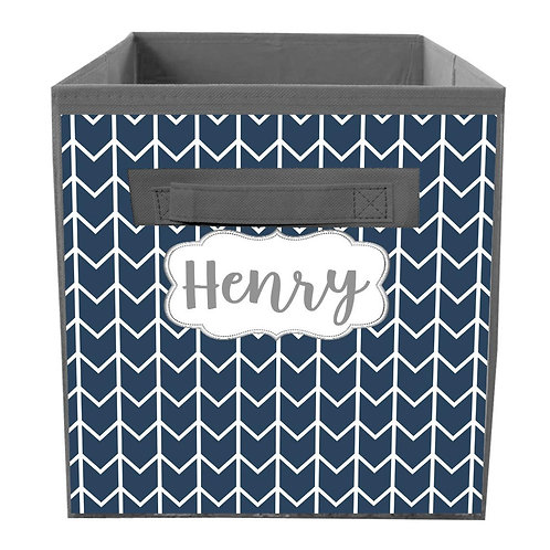Navy Chevron FABRIC BIN