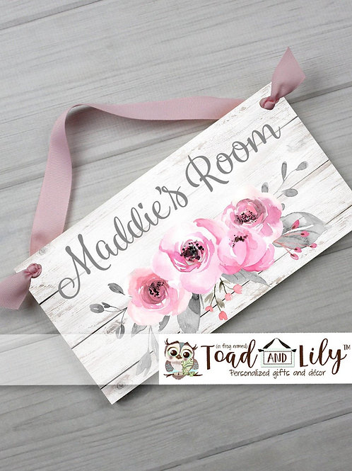Sweet Grey and Pink Floral Bouquet DOOR SIGN
