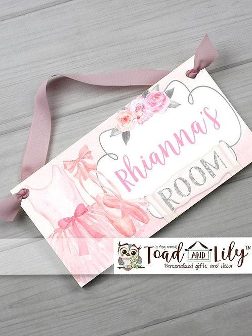 Floral Ballerina DOOR SIGN