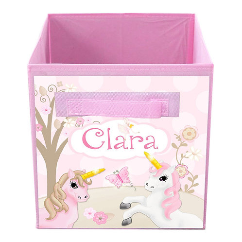 Pink and Beige Unicorn FABRIC BIN