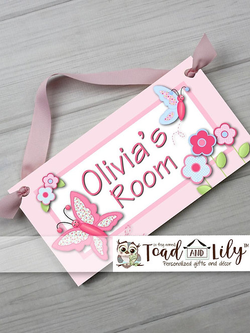 Pretty Patterned Butterfly DOOR SIGN