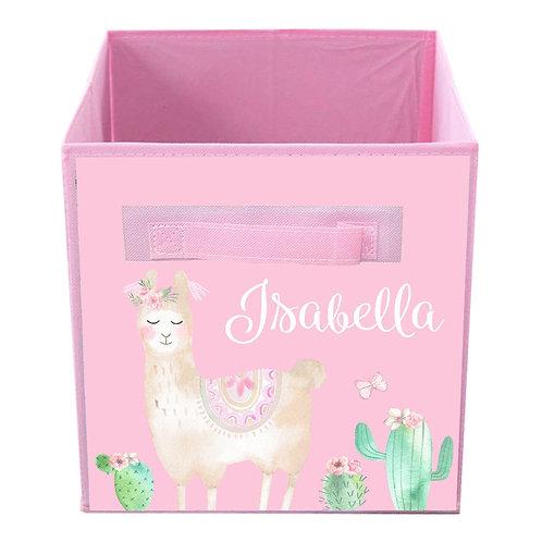 Pink Llama FABRIC BIN