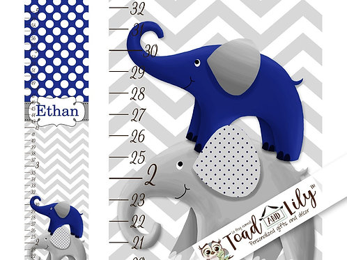 Blue and Grey Elephant GROWTH CHART