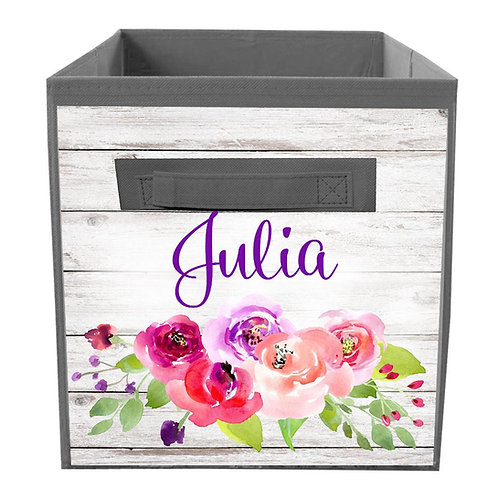 Rustic Purple Floral FABRIC BIN