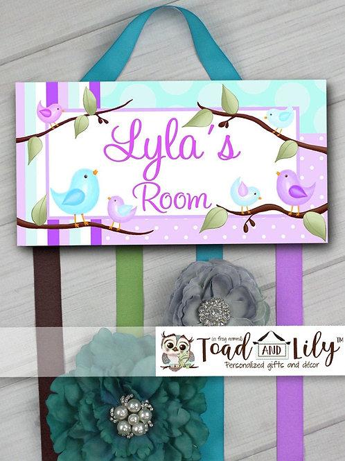 Aqua and Lilac Birdie HAIR BOW HOLDER