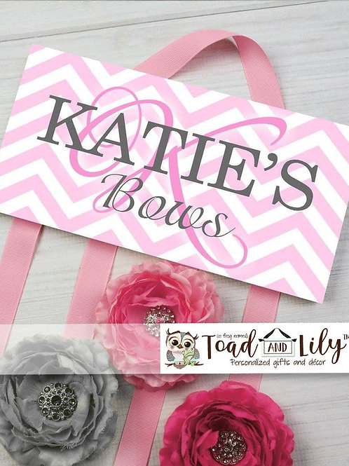Pink and Gray Chevron HAIR BOW HOLDER