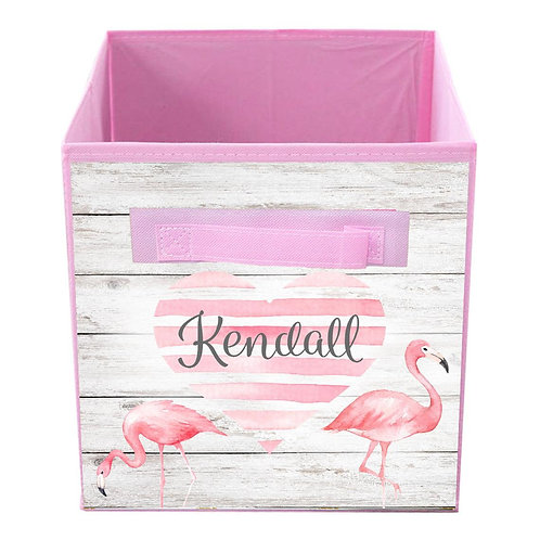 Flamingo Heart FABRIC BIN