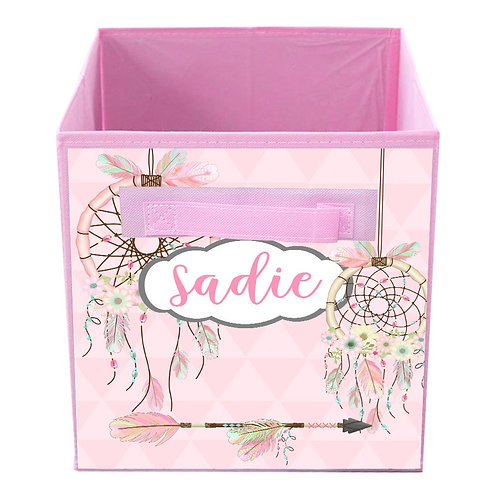 Pink Floral Dream Catcher FABRIC BIN