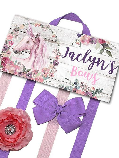 Pink and Lilac Unicorn HAIR BOW HOLDER