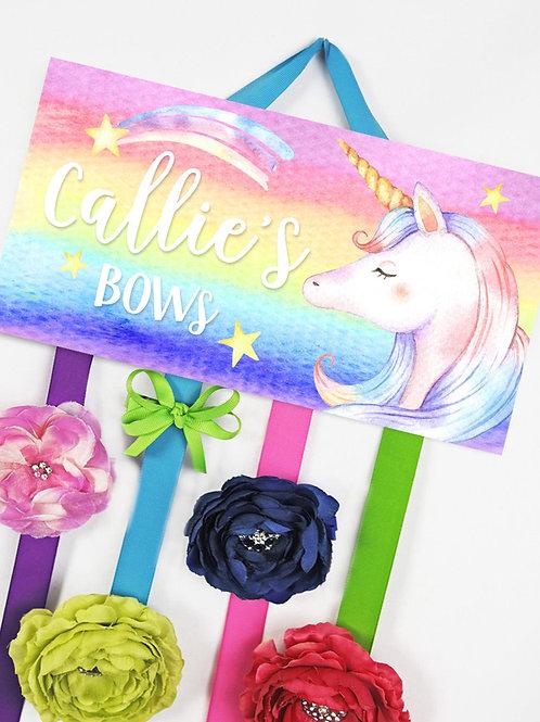 Rainbow Unicorn HAIR BOW HOLDER