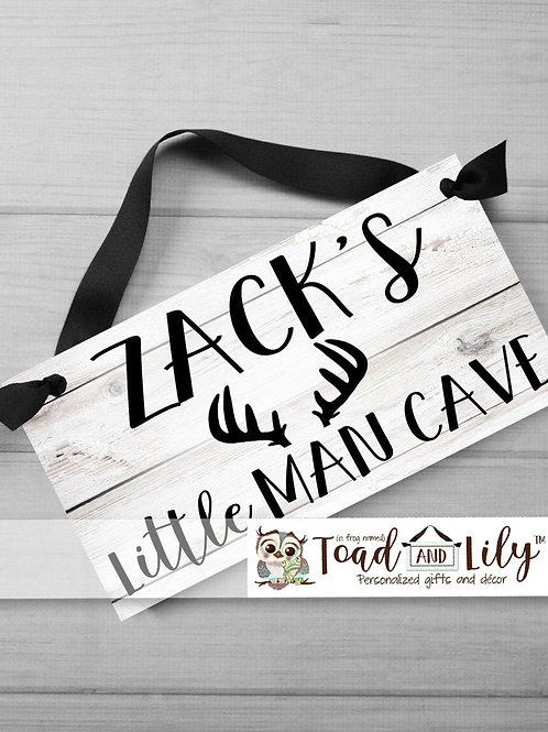 Little Man Cave Woodland DOOR SIGN