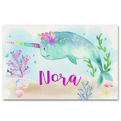 Floral Narwhal LINEN PLACEMAT