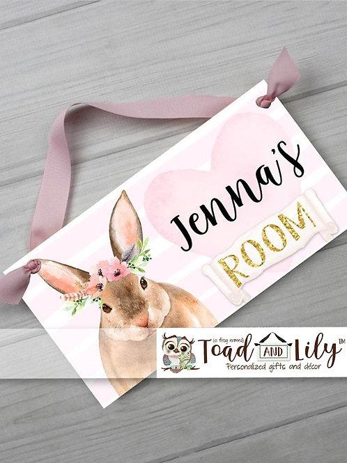 Floral Bunny DOOR SIGN