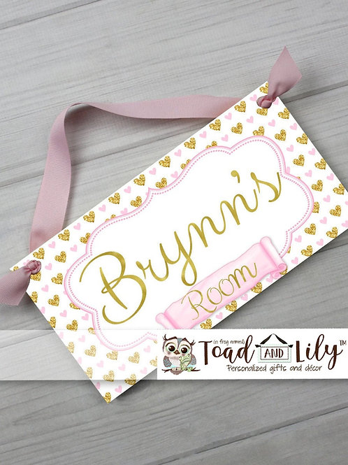 Soft Pink and Gold Hearts DOOR SIGN
