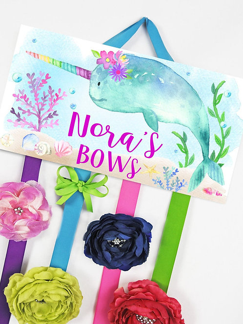 Floral Narwhal HAIR BOW HOLDER