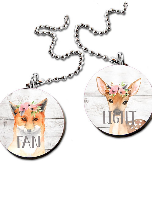 Floral Woodland Animal FAN PULLS