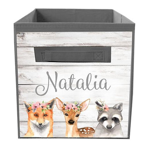 Floral Woodland Animal FABRIC BIN
