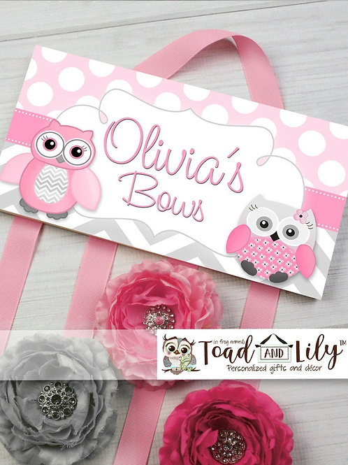 Pink and Gray Owl HAIR BOW HOLDER