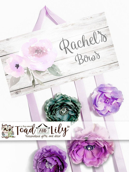 Rustic Lilac Floral HAIR BOW HOLDER