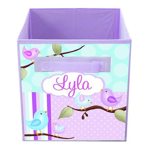 Aqua and Lilac Birdie FABRIC BIN