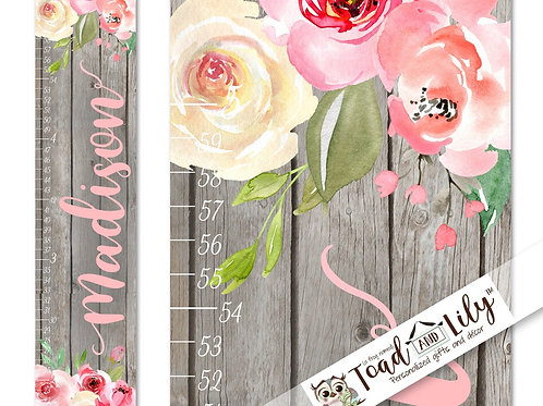 Rustic Grey and Pink Floral GROWTH CHART